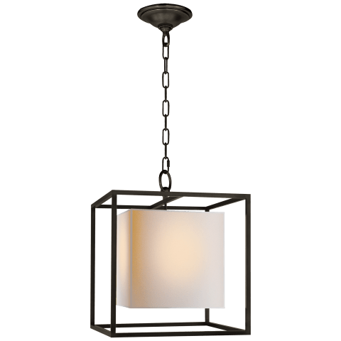 Caged Small Lantern in Bronze with Natural Paper Shade