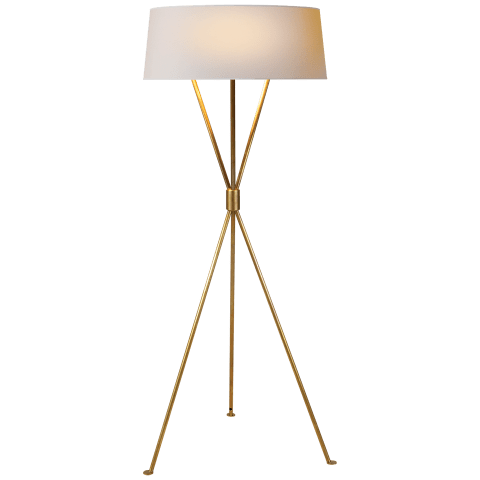 Thornton Floor Lamp in Hand-Rubbed Antique Brass with Natural Paper Shade