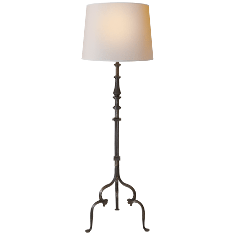 Madeleine Floor Lamp in Aged Iron with Natural Paper Shade