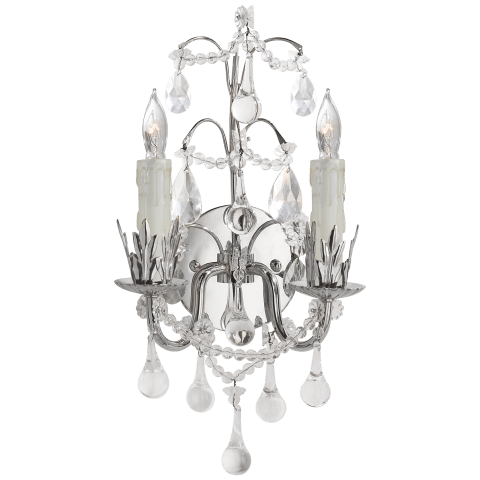 Hannah Two-Light Sconce in Polished Nickel with Crystal Trim