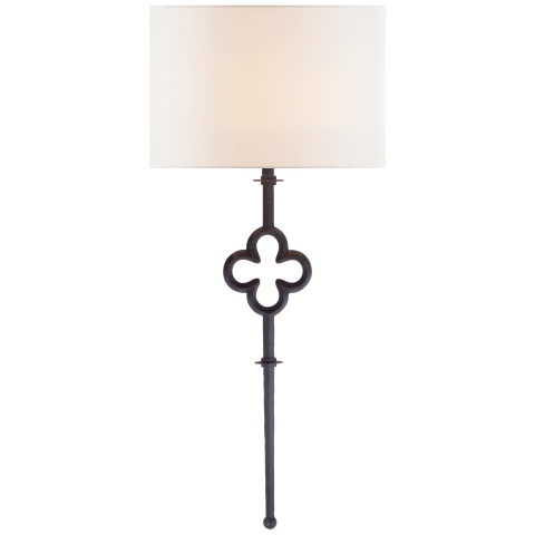 Quatrefoil Tail Sconce in Aged Iron with Linen Shade