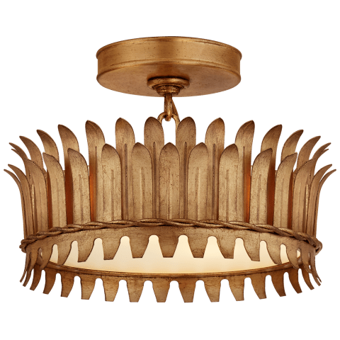 "Leslie 12"" Semi-Flush in Gilded Iron with Frosted Glass"