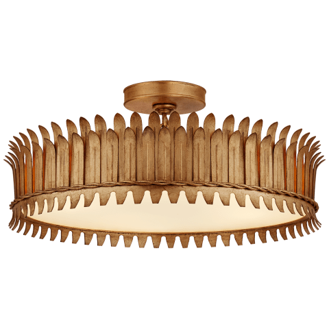 "Leslie 20"" Semi-Flush in Gilded Iron with Frosted Glass"