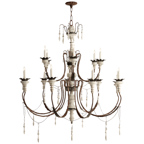 Percival Large Chandelier in Natural Rusted Iron and Old White Wood