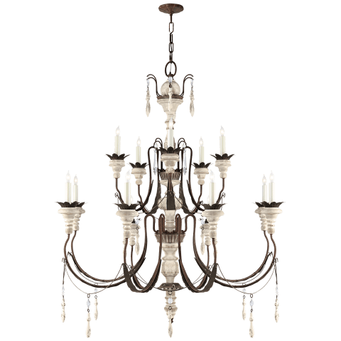 Percival Medium Chandelier in Natural Rusted Iron and Old White Wood