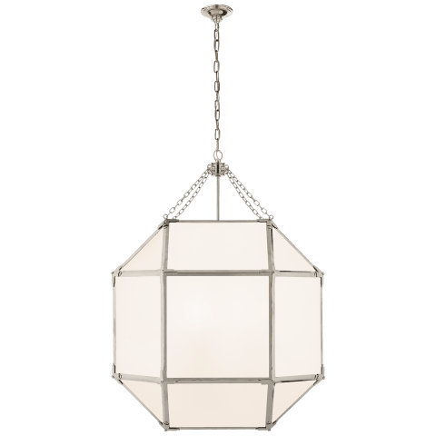 Morris Large Lantern in Polished Nickel with White Glass