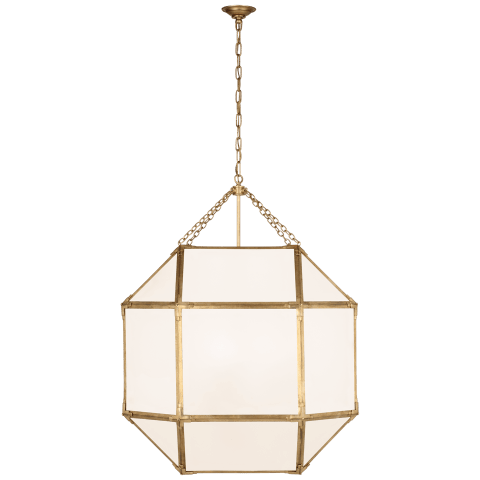 Morris Grande Lantern in Gilded Iron with White Glass