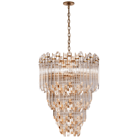 Adele Three-Tier Waterfall Chandelier in Hand-Rubbed Antique Brass with Clear Acrylic