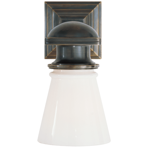 New York Subway Single Light in Bronze with White Glass