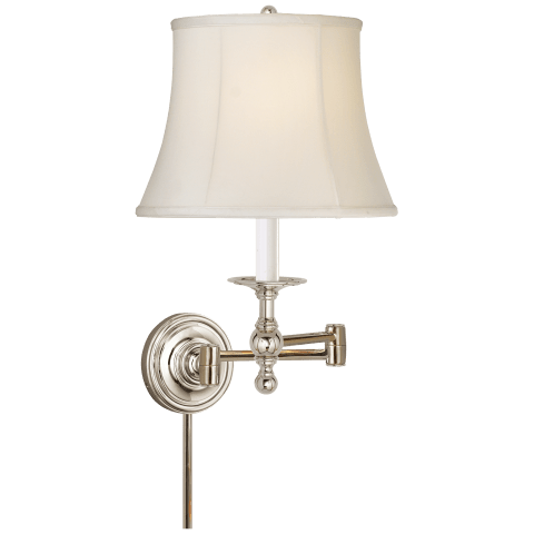 Classic Swing Arm Sconce in Polished Nickel with Silk Shade