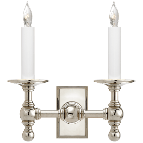 Double Library Classic Sconce in Polished Nickel