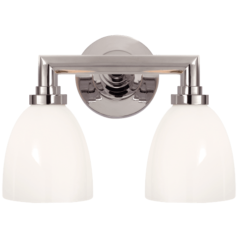 Wilton Double Bath Light in Chrome with White Glass