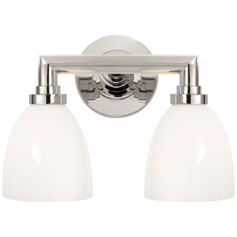 Wilton Double Bath Light in Polished Nickel with White Glass