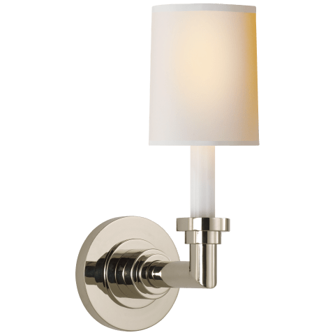 Wilton Single Sconce in Polished Nickel with Natural Paper Shade