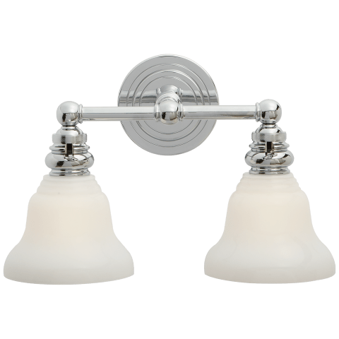 Boston Functional Double Light in Chrome with White Glass