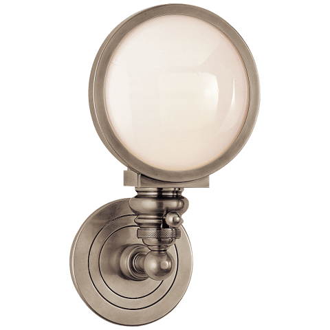 Boston Head Light Sconce in Antique Nickel with White Glass