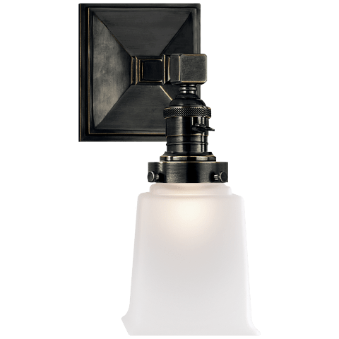 Boston Square Single Light in Bronze with Frosted Glass