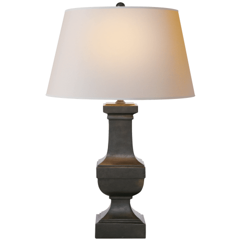 Square Balustrade Table Lamp in Aged Iron with Natural Paper Shade
