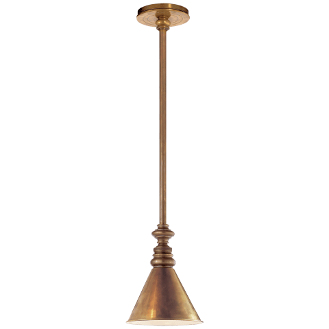 Boston Pendant in Bronze with White Glass Slant Shade