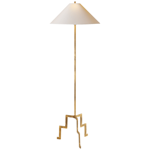 Lancaster Floor Lamp in Gilded Iron with Natural Paper Shade