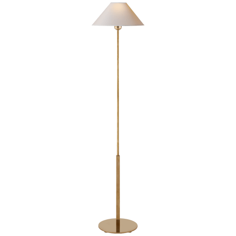 Hackney Floor Lamp in Hand-Rubbed Antique Brass with Natural Paper Shade