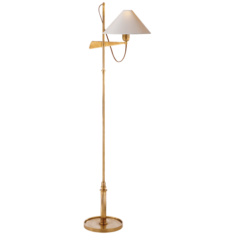 Hargett Bridge Arm Floor Lamp in Hand-Rubbed Antique Brass with Natural Paper Shade