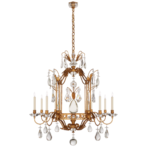 Whitley Medium Chandelier in Gilded Iron with Crystal