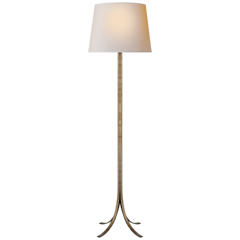 Makis Floor Lamp in Hand-Painted Greek Key Tole with Natural Paper Shade