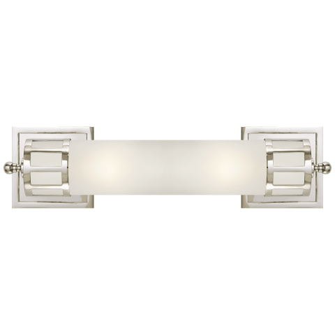 Openwork Medium Sconce in Polished Nickel with Frosted Glass