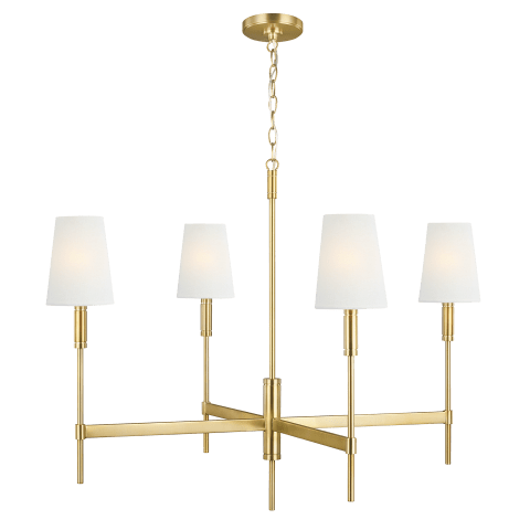 Beckham Classic 4 - Light Chandelier Burnished Brass