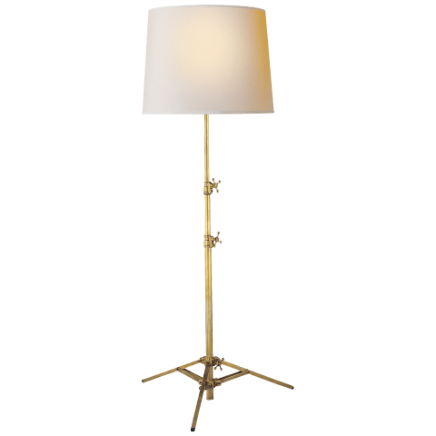 Studio Floor Lamp in Hand-Rubbed Antique Brass with Natural Paper Shade