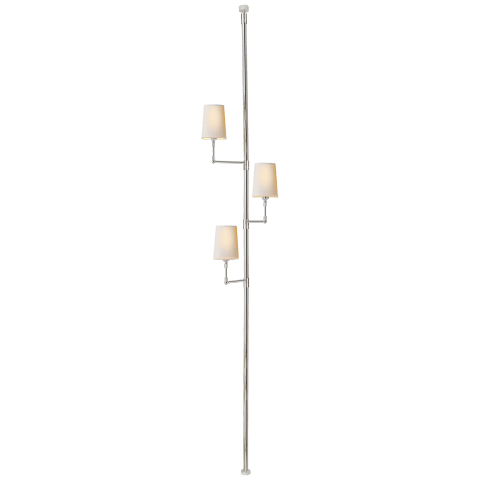 Ziyi Tension Pole Lamp in Polished Nickel with Natural Paper Shades