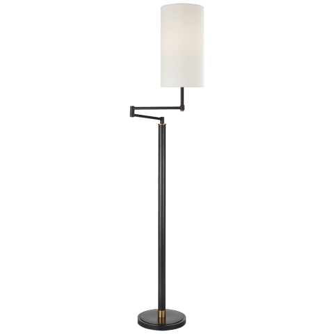 Anton Large Swing Arm Floor Lamp in Bronze and Hand-Rubbed Antique Brass with Linen Shade