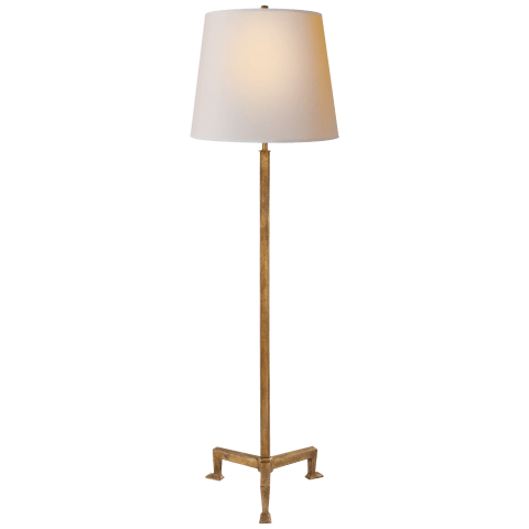Parish Floor Lamp in Gilded Iron with Natural Paper Shade