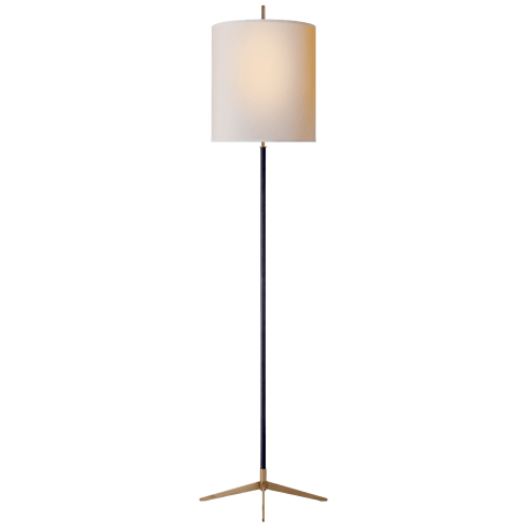 Caron Floor Lamp in Bronze with Hand-Rubbed Antique Brass accents with Natural Paper Shade
