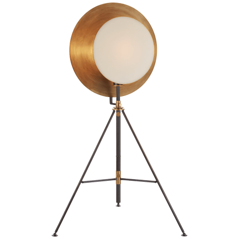 Osiris Tripod Reflector Studio Floor Lamp in Bronze and Hand-Rubbed Antique Brass with Linen Diffuser