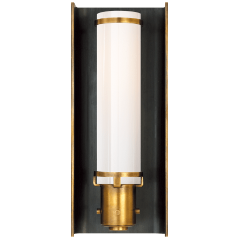 Greenwich Sconce in Bronze and Hand-Rubbed Antique Brass with White Glass