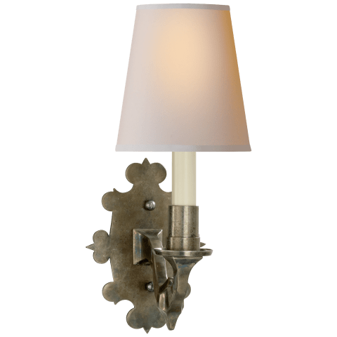 Leyland Sconce in Sheffield Nickel with Natural Paper Shade