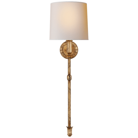 Michel Tail Sconce in Gild with Natural Paper Shade