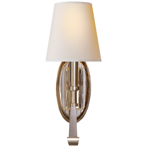 Calliope Single Sconce in Polished Nickel with Natural Paper Shade