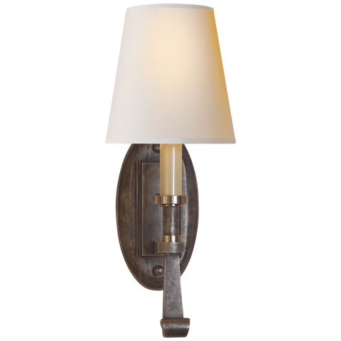 Calliope Single Sconce in Sheffield Nickel and Antique Nickel with Natural Paper Shade