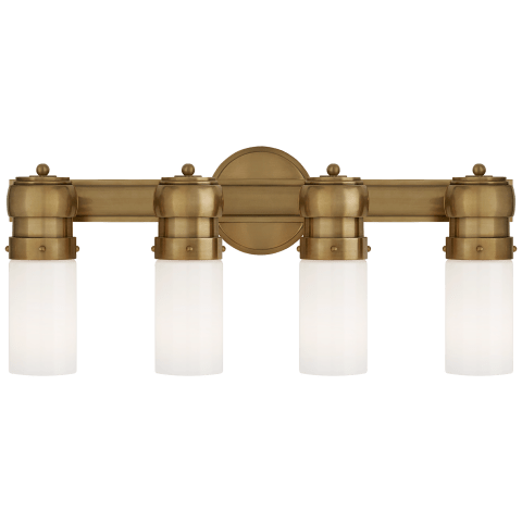 Graydon Medium Over The Mirror Bath Light in Hand-Rubbed Antique Brass with White Glass