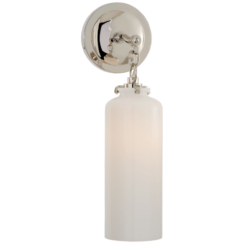 Katie Small Cylinder Sconce in Polished Nickel with White Glass