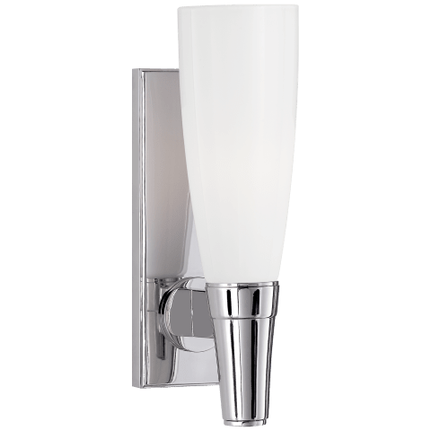 Vinton Small Single Sconce in Polished Nickel with White Glass