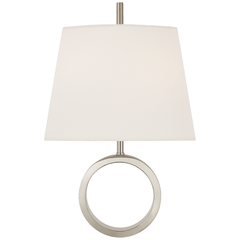 Simone Small Sconce in Polished Nickel with Linen Shade