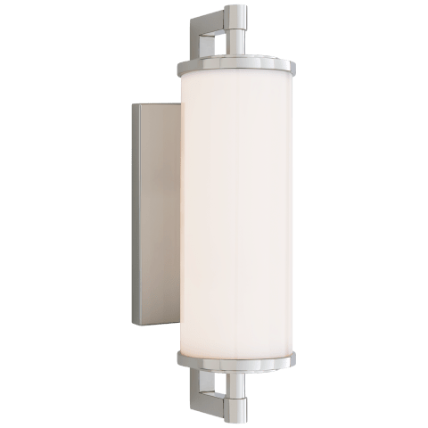 "Landis 13"" Bath Light in Polished Nickel with White Glass"