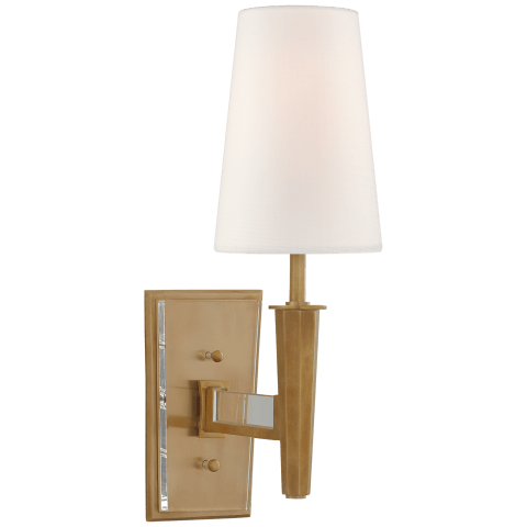 Lyra Small Sconce in Hand-Rubbed Antique Brass and Crystal with Linen Shade