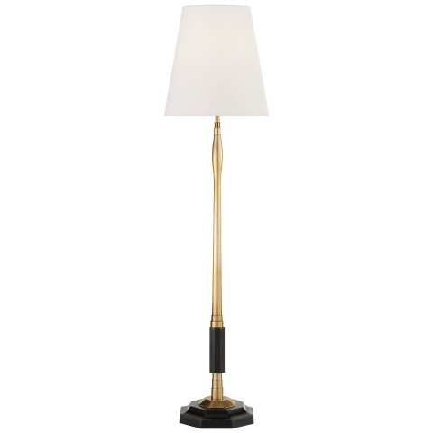 Duffy Medium Buffet Lamp in Bronze and Hand-Rubbed Antique Brass with Linen Shade