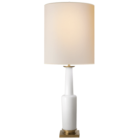 Fiona Small Table Lamp in White Glass with Natural Paper Shade