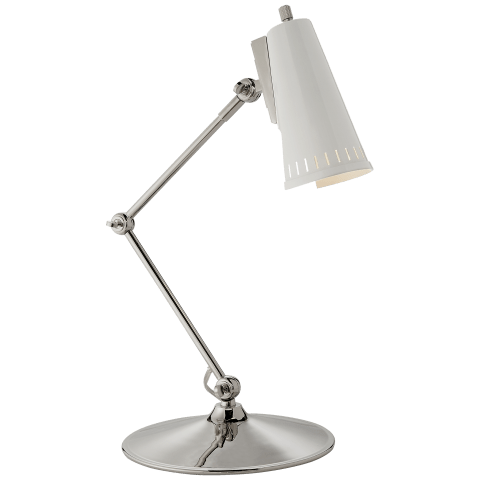 Antonio Articulating Task Lamp in Polished Nickel with Antique White Shade